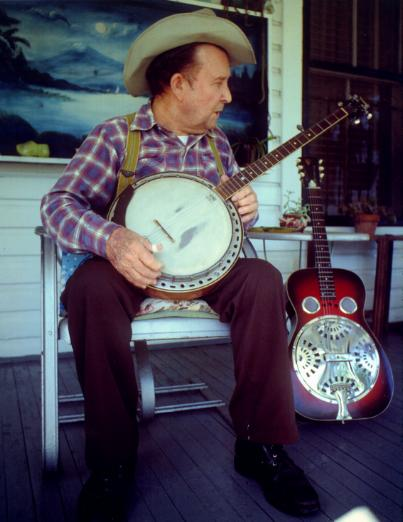 Grandpa Shorty on the Front Porch